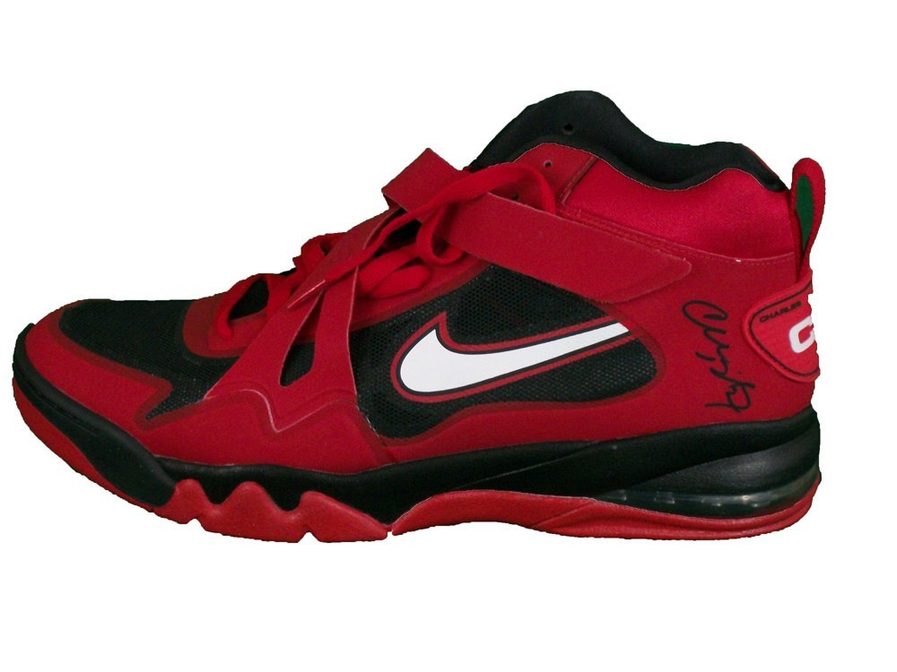 Charles Barkley Autographed Red Nike Shoe With COA.. Use Promo Code