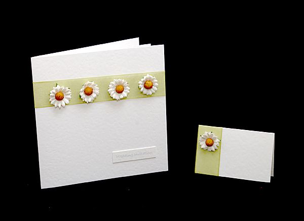 handmade wedding invitations, daisy invites and handmade wedding,