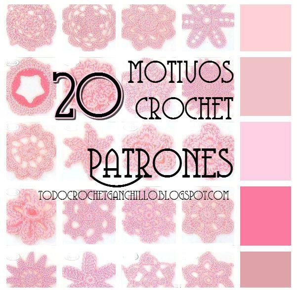 Todo crochet: 20 motivos de flores y círculos crochet / patrones ...