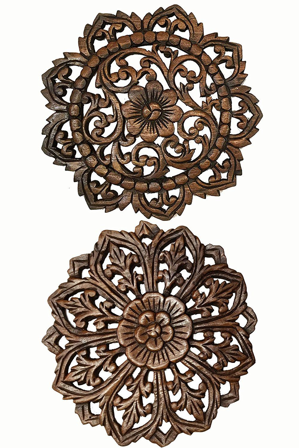 Amazon set of round carved wood wall art oriental carved