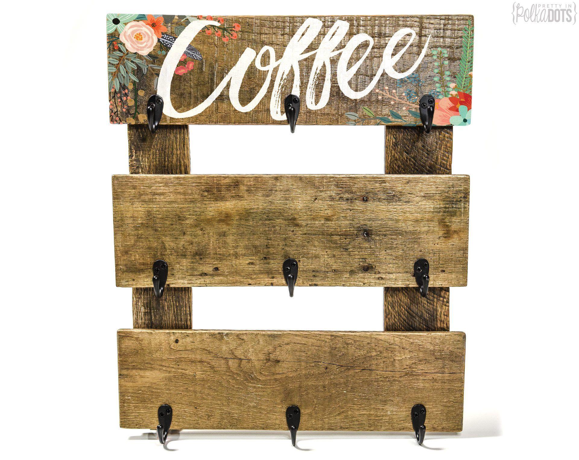 Coffee Cup Hanger Pretty In Polka Dots Floral mug rack