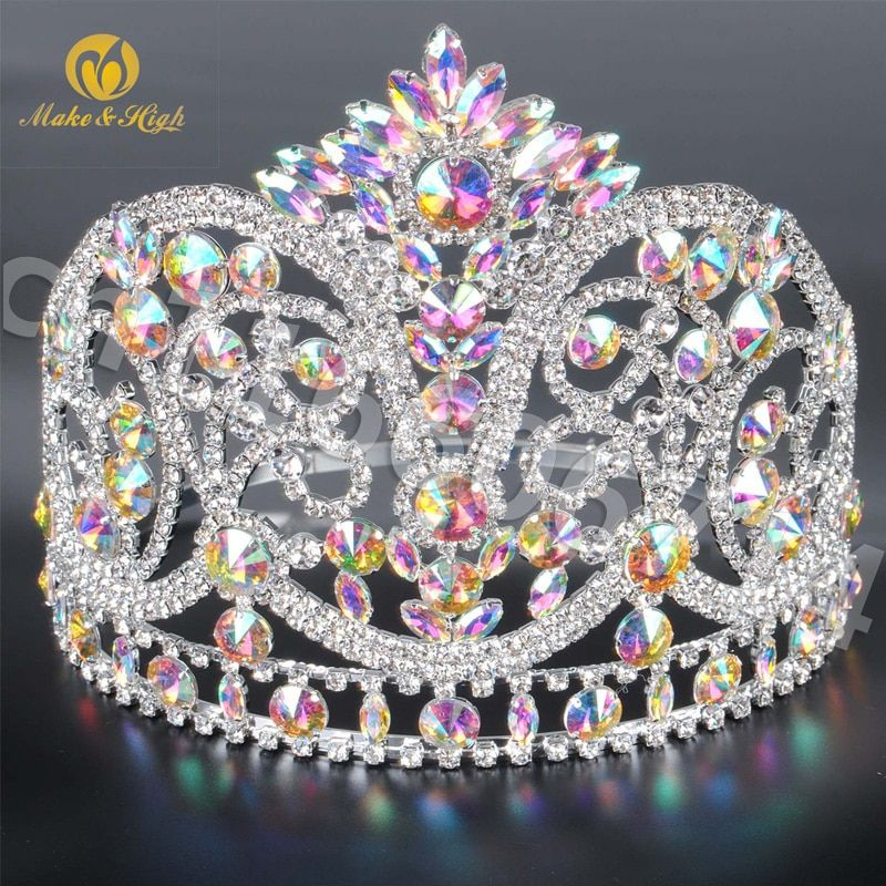 Beauty Pageant Hair Tiaras Crowns Crystal Large Headpiece Bridal Prom Costumes