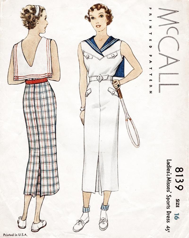 McCall 8139 1930s sports dress vintage sewing pattern | Follow mE ...