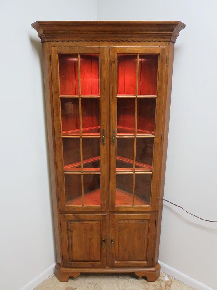 Ethan Allen Circa 1776 Chippendale Hutch Crystal China Curio Corner Cabinet On Ebay 3