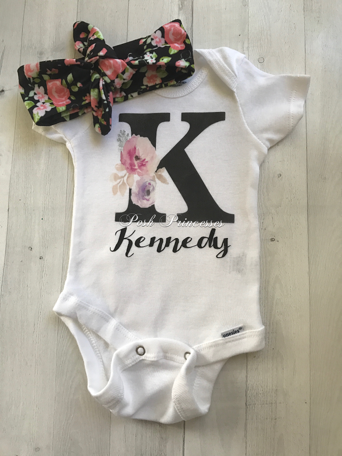 Baby girl boho watercolor floral mongrammed personalized onesie baby girl boho watercolor floral mongrammed personalized onesie only any size negle