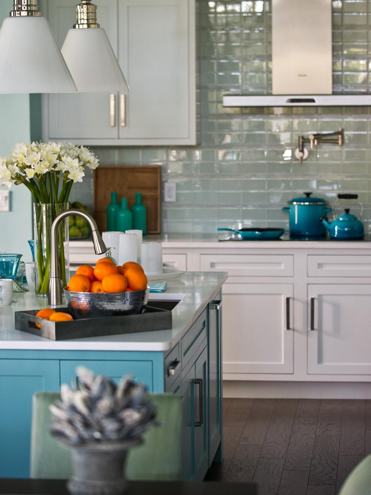 Inspirational Gray and Turquoise Kitchen