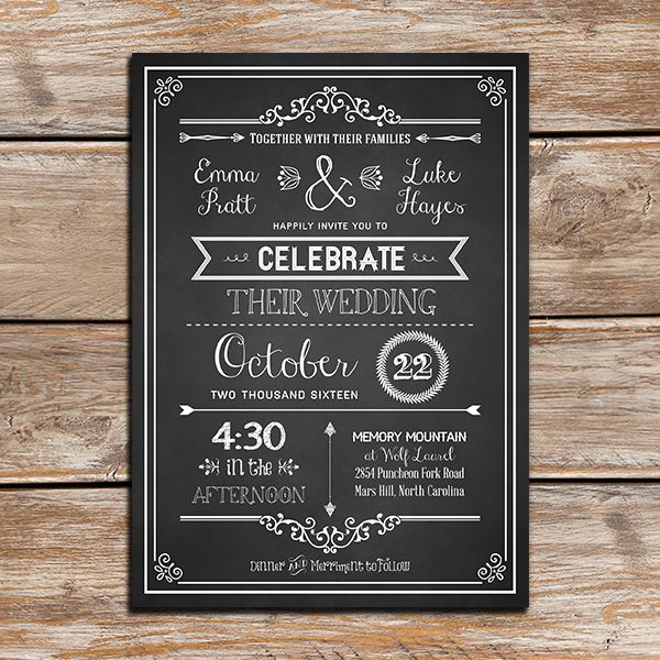 Chalkboard Rustic Diy Wedding Invitation  Shops Wedding And Diy