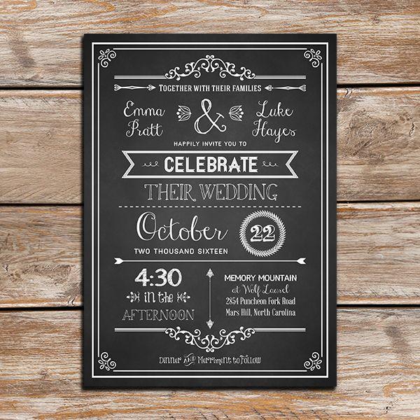 Chalkboard DIY Rustic Wedding Invitation Template With Border