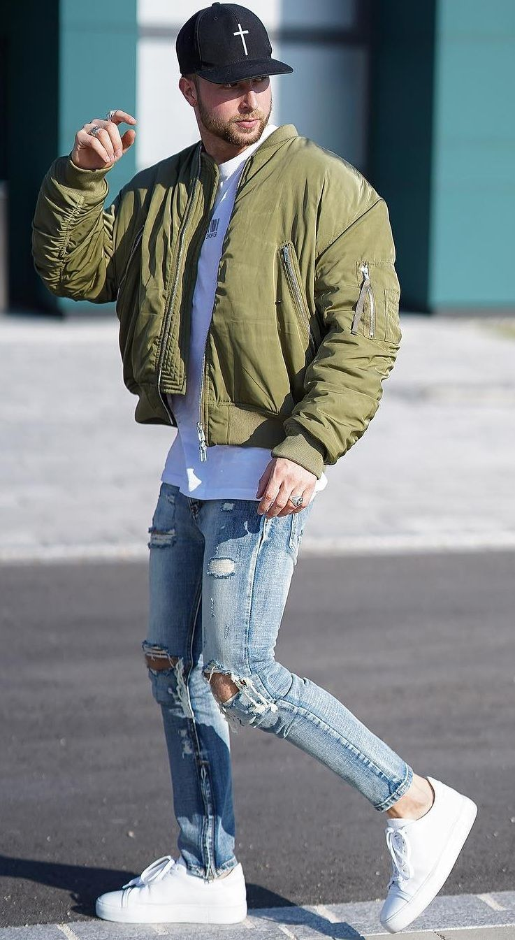 Olive Green Bomber Jacket With Blue Ripped Denim Outfit For Men Bomber Jacket Outfit Denim Outfit Men Green Bomber Jacket Outfit [ 1345 x 737 Pixel ]