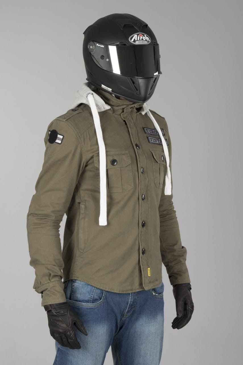 c4342bb2caeed Booster Army Aramid Hoodie Green in 2019 | Motorbike Jacket ...