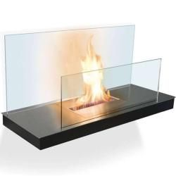 Photo of Radius Design Wall Flame 2 ethanol fireplace frame white, stainless steel plate matt glass rear wall Radius
