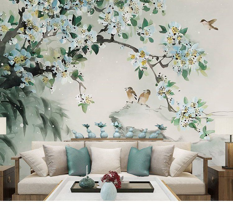 Oriental Ink Painting Wallpaper Wall Mural Flowers Birds Theme