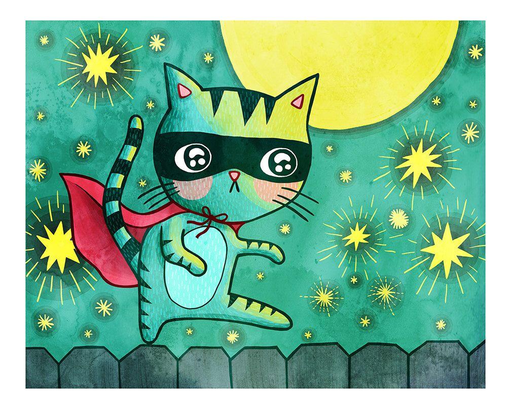Superhero Cat Bandit Cat Print Nursery Art Cat Art Cat Etsy Animal Nursery Art Art Wall Kids Nursery Art