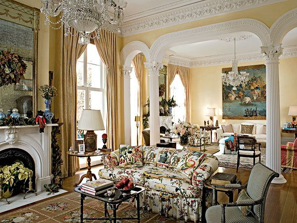 French Living Room Design Yellow Glazed Walls Brighten The Double Parlor Where Columns