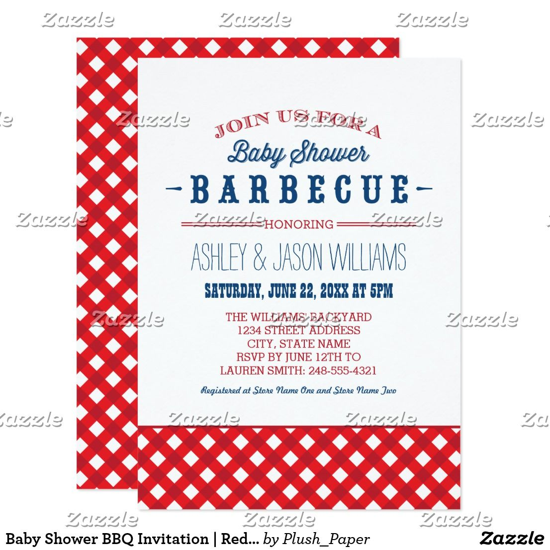 Baby Shower BBQ Invitation | Red White & Blue Festive and stylish ...