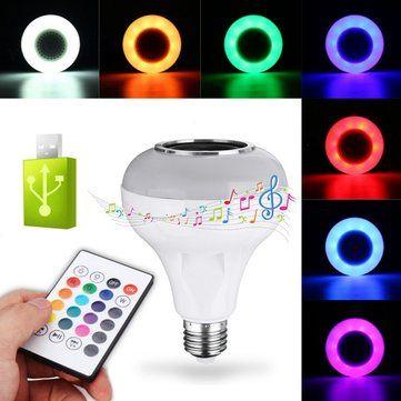 E27 12W RGBW USB Bluetooth LED Light Bulb Smart Music Play Lamp +24Keys Remote Control