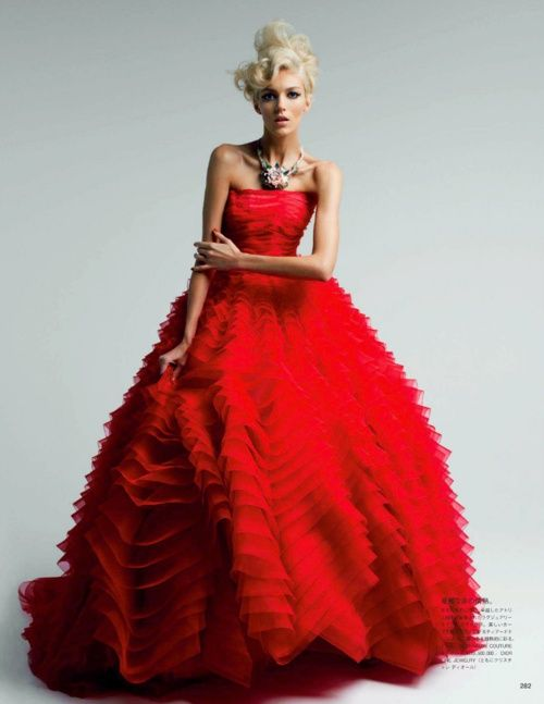 Christian-Dior Couture, red beauty, dress