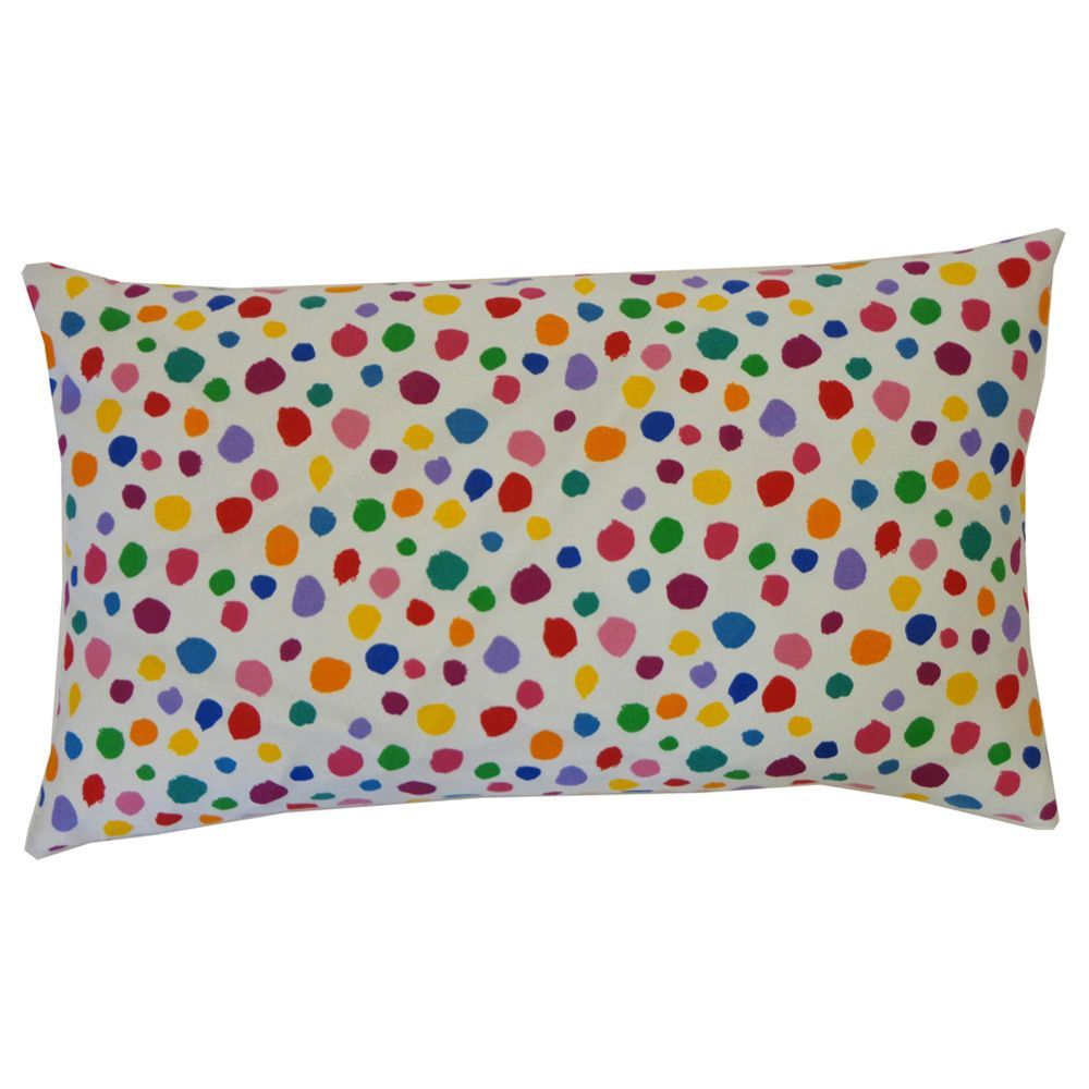 Fuzzy White Kids Polka 12x20-inch Pillow