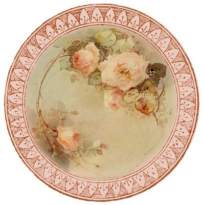 """Such fine china"" ~ free round graphic, pretty roses"