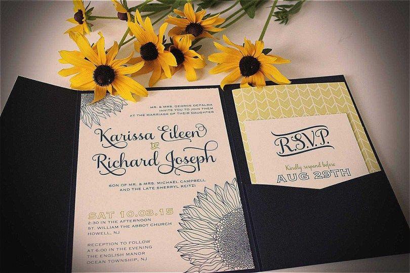 Wood Wedding Invitations Sunflower Wedding Invitations Printing Wedding Invitations