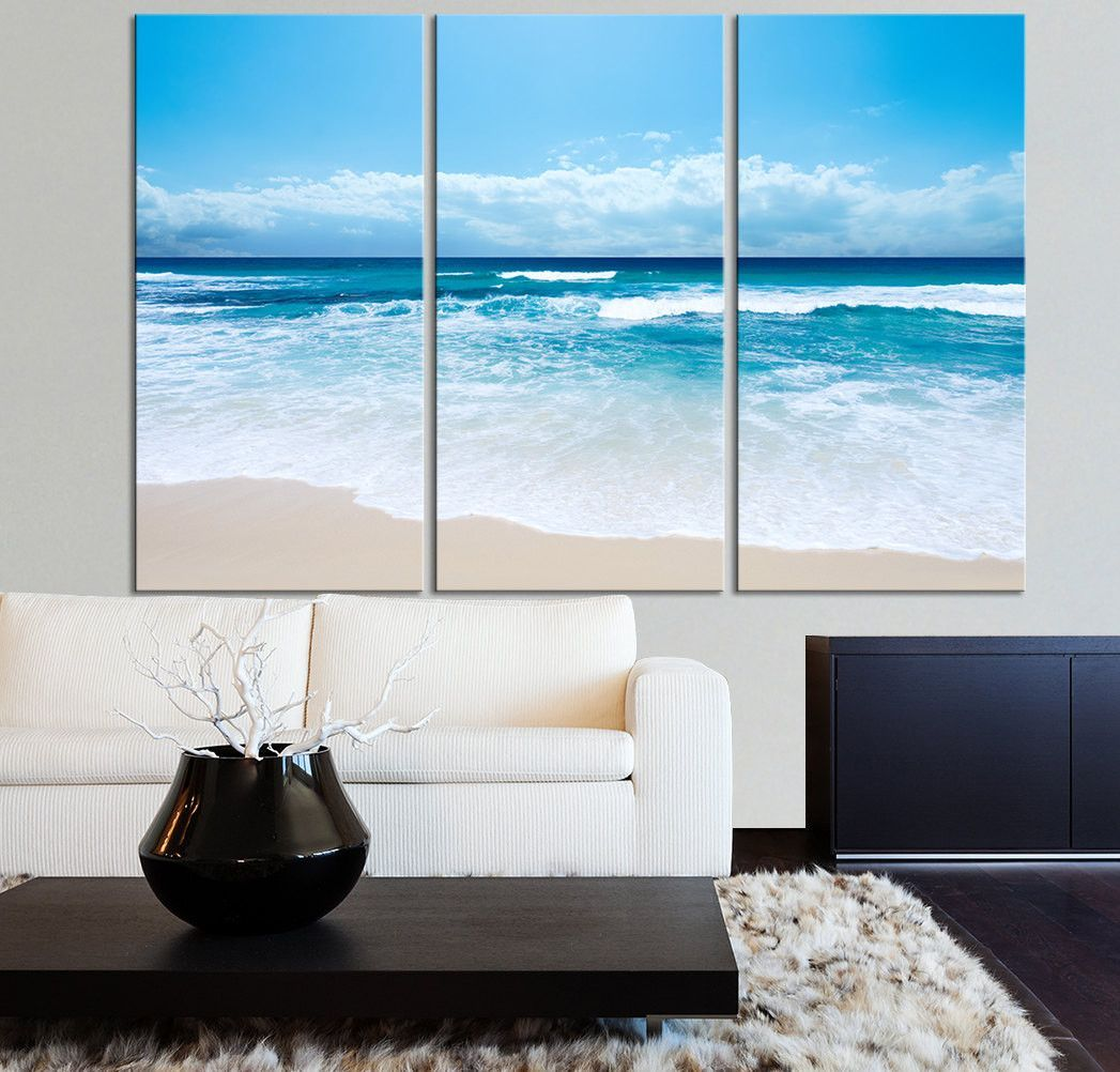 Large Wall Art Ocean Beach And Wave Canvas Print Seascape Scenery 3 Panel Canvas Art For Wall Metal Tree Wall Art Large Wall Art Large Canvas Wall Art