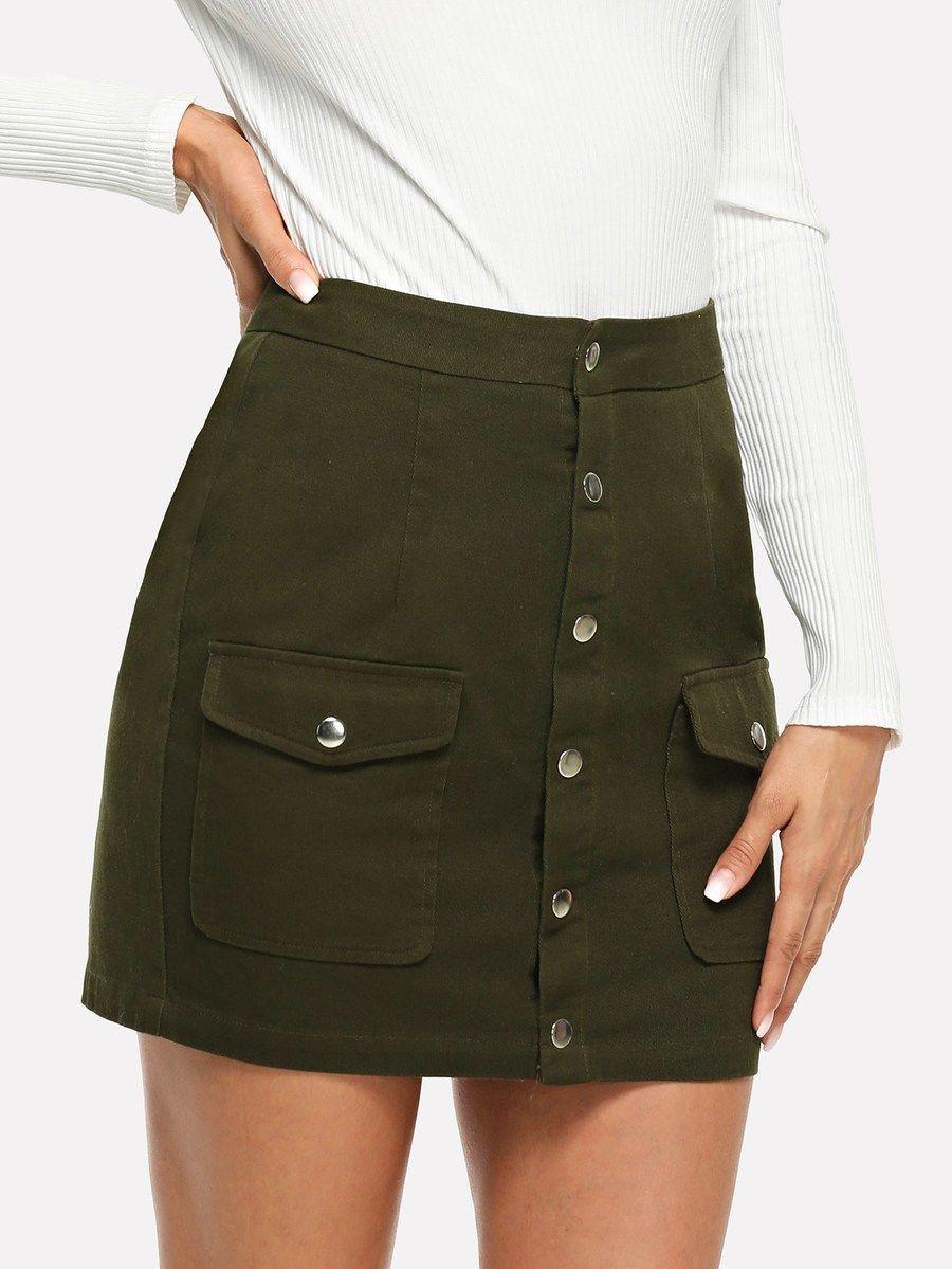 22fa0536fa4 Button   Pocket Front Bodycon Skirt -SheIn(Sheinside)