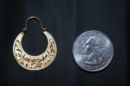14K Classic Cuban Hoop Earring.Size of a quarter