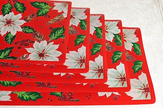 vintage red vinyl christmas placemats x 5 set of five holiday
