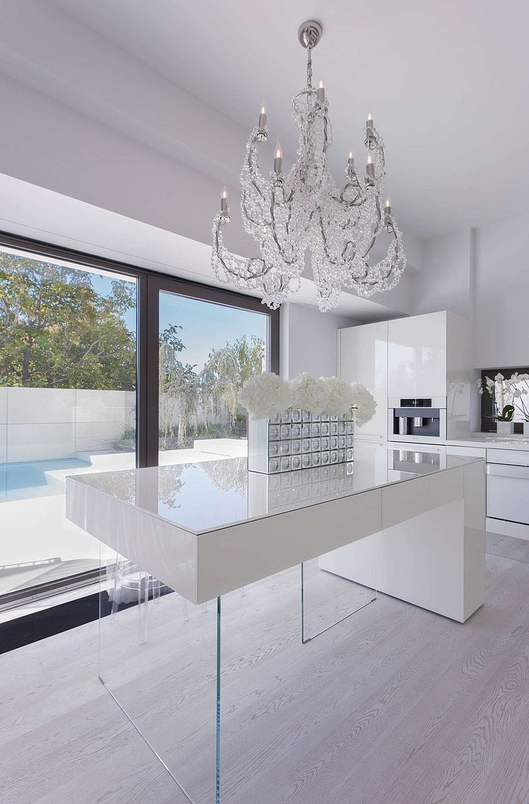 "Casa B by SYRAA - liking the ""floating"" kitchen bench & modern chandelier"