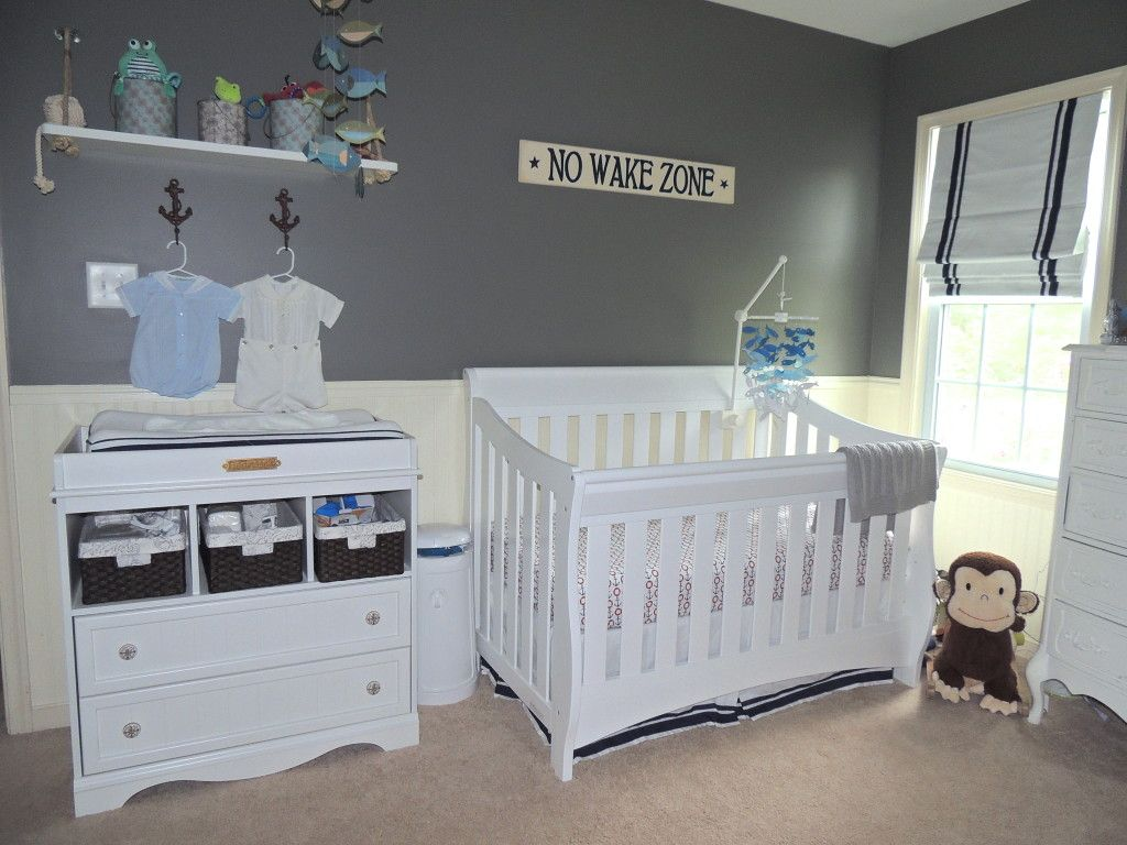 Gray & Navy Nautical Nursery | Boy room paint, Boy room ...