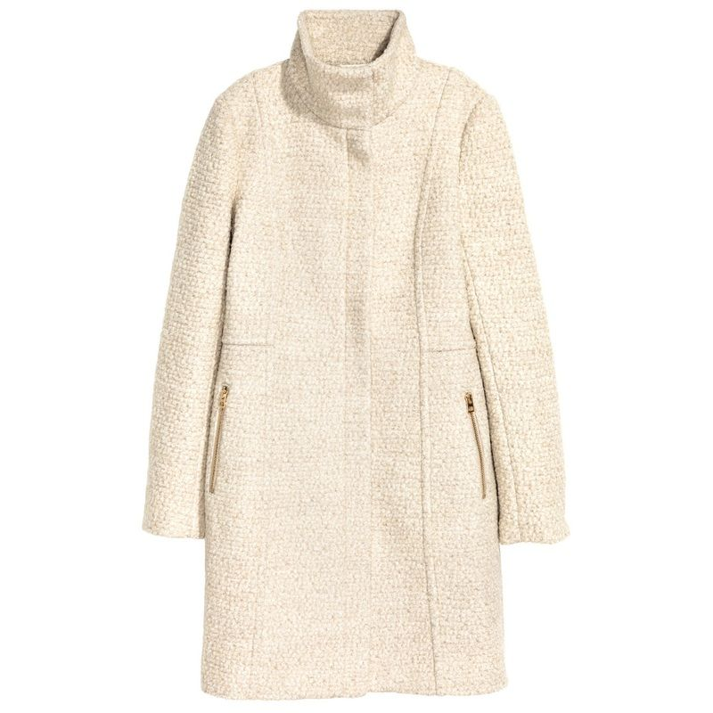 For the Max Mara Studio 'Belli' Beige Funnel Neck Coat