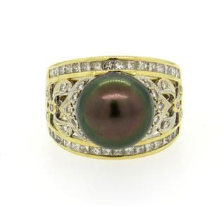 14K Gold South Sea Tahitian Pearl Diamond Dome Ring Featured in our upcoming auction on June 14!