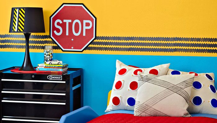 Bedroom Wall Painted Yellow On Top And Blue On The Bottom With Tire Track  Border Between