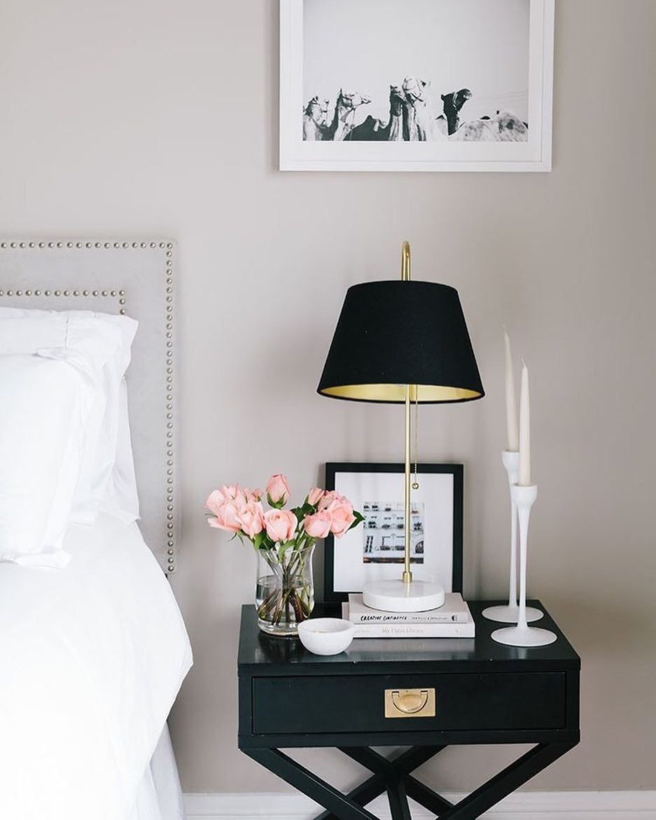 Nightstand Styling And Like The B W Photo Over It