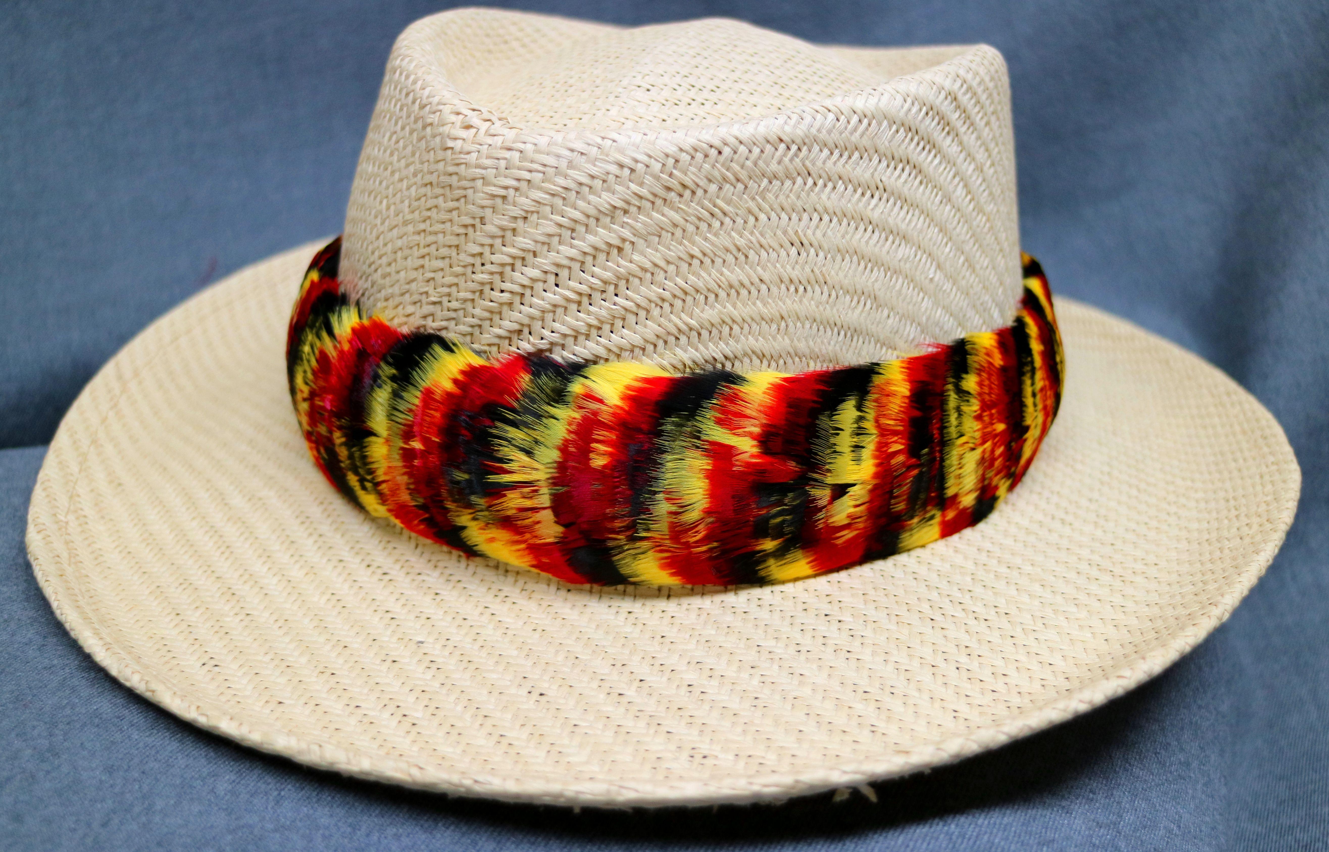 Feather Hat Band Humu Papa Lei Hulu Yellow Gold Black Red Goose Feather Hat Feather Hat Band