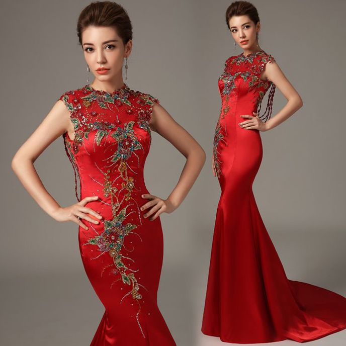 Shop elegant silk cheongsam, traditional Chinese red bridal dresses, sexy modernize Qipao from www.ModernQipao.com. Save 6% by share our products. Embroidered floral sleeveless mermaid trailing Chinese wedding dress