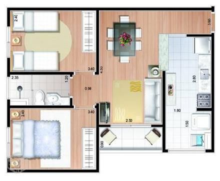 projeto apartamento 50m2 pesquisa google pinterest plans appartement. Black Bedroom Furniture Sets. Home Design Ideas