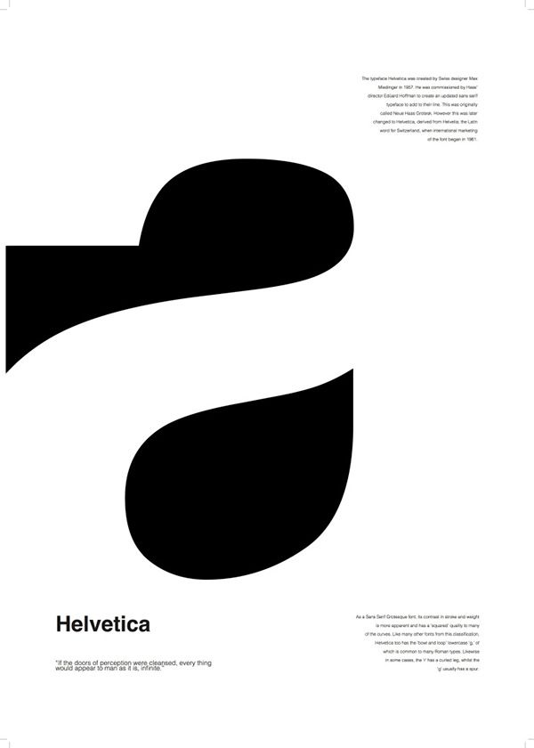Helvetica. By typeface designer Max Miedinger. I like the positive and negative shapes on that the letter A showes (the negative shape in the middle looks like a teardrop).