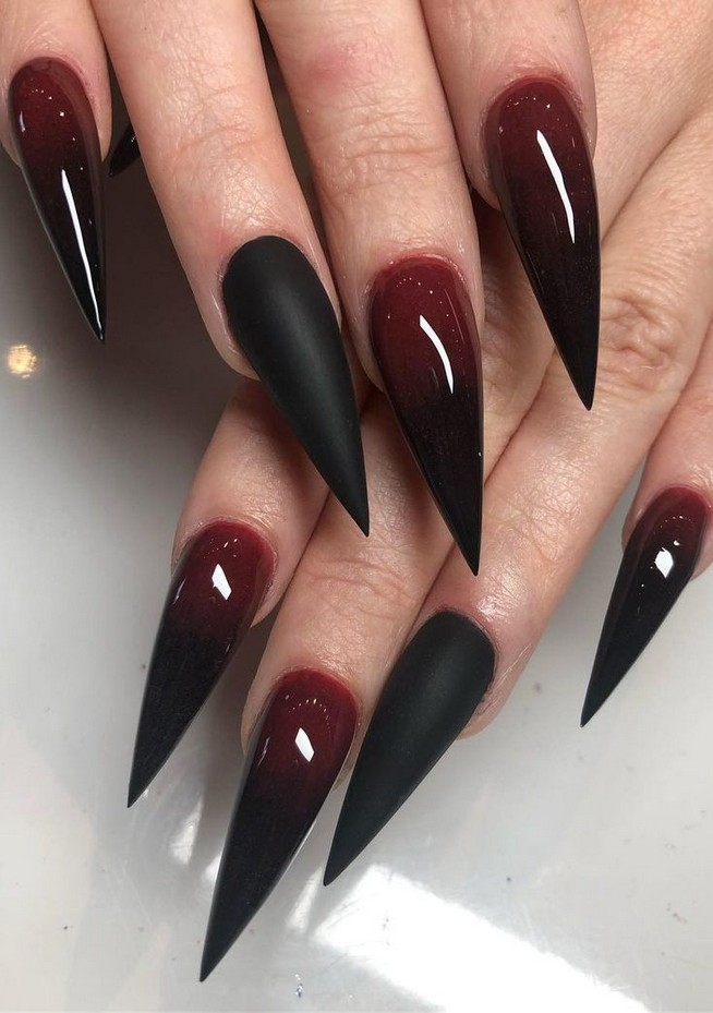 Popular Halloween Nails Acrylic Coffin This Halloween We Really Want You To Nail It With Your Spellbin With Images Valentines Nail Art Designs Goth Nails Red Nail Art