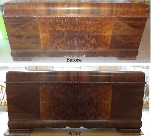 Superb Refinished Furniture   Before And After Photo Of Lane 1943 Cedar Chest.  Forever New Refinishing