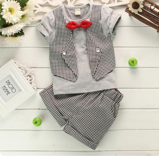 e96a59373 Humor Bear Boys Lattice Gentlemen 2Pcs Suit Print Short-Sleeved Suit  6M-18M. Casual Short Suit Set Boys Clothes Style, Newborn ...