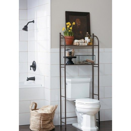 Add Convenient Storage E To A Small Bathroom With The Target Home Trade Oil Rubbed Metal Etagere In Bronze Crafted From Sy Steel This Over Toilet