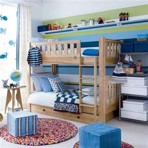 bunk beds  [use the ikea spice rack shelf idea for easy access to books from the top bunk]