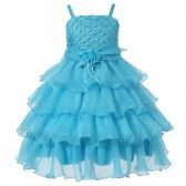 Richie House Big Girls Teal Rosette Flower Adorned Extravagant Dress 7-11 - SophiasStyle.com