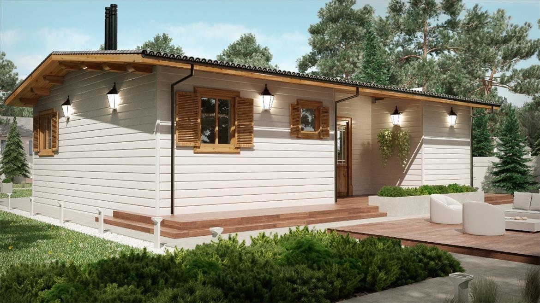 Fenix b 70 m 1000x700 con porche bungalow de madera for Porche diseno