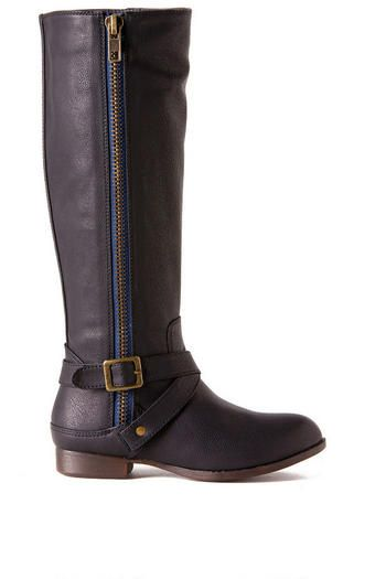 Route 66 Blue Zipper Boot -- finally a tall boot with a narrow shaft circumference for skinny legs.