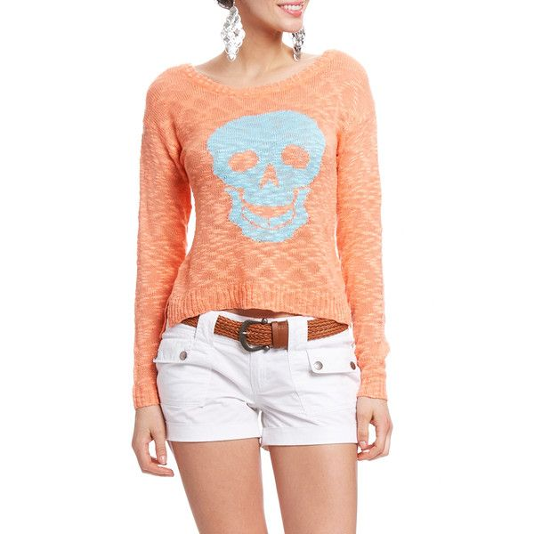 Skull Long Sleeve Sweater ($27) ❤ liked on Polyvore