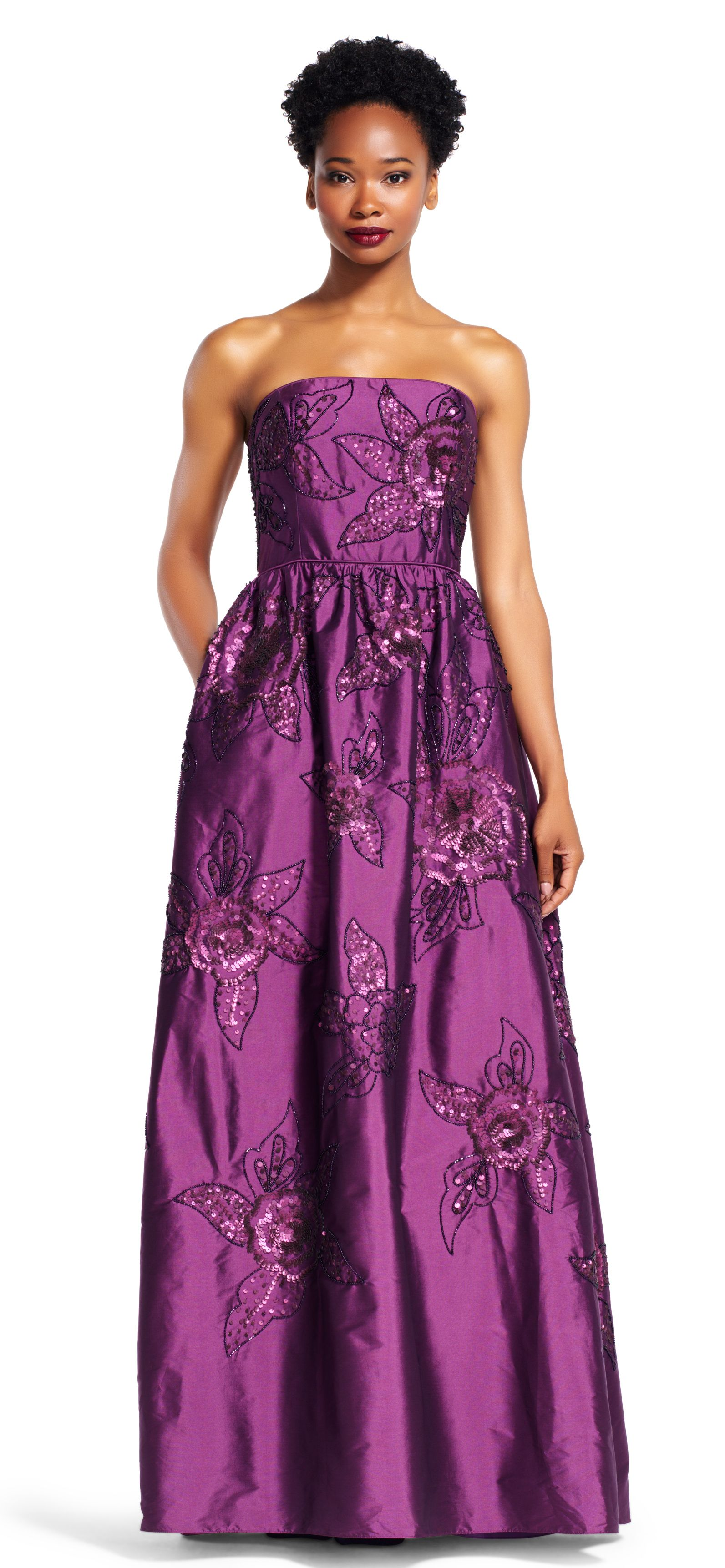 Strapless Silky Taffeta Ball Gown with Floral Beading   Glamorous ...