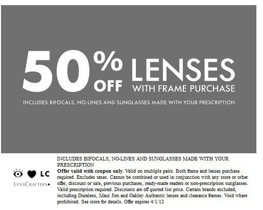 graphic about Lenscrafters Printable Coupons named Pin upon Coupon codes