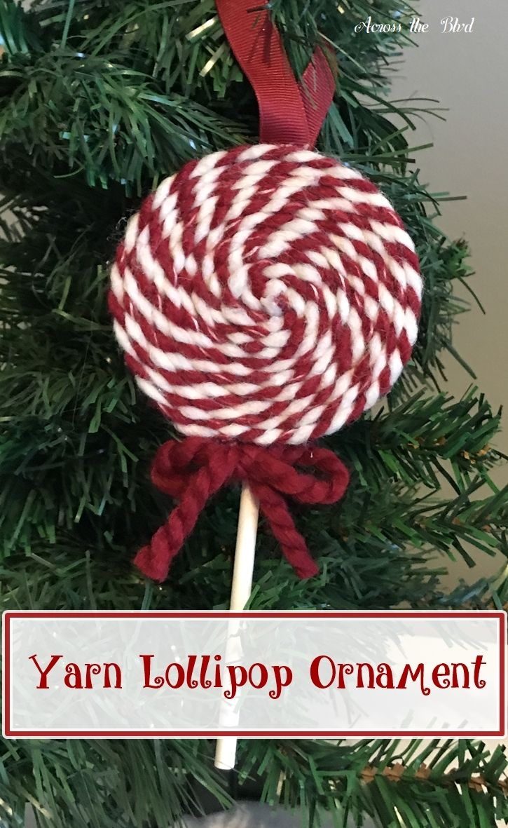 yarn lollipop ornament across the blvd